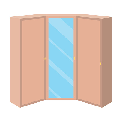 Pink wardrobe with two doors and a mirror.Bedroom wardrobe.Bedroom furniture single icon in cartoon style vector symbol stock illustration.