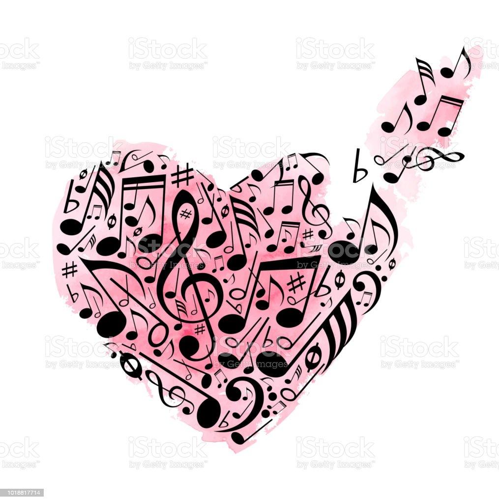 Ilustración De Rosa Corazón Acuarela De Notas Musicales Y Más Banco