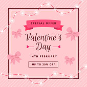 Pink web backdrop for Valentines Day sale. Spe ial offer with hearts decorations and place for text. Flat style. Vector illustration.