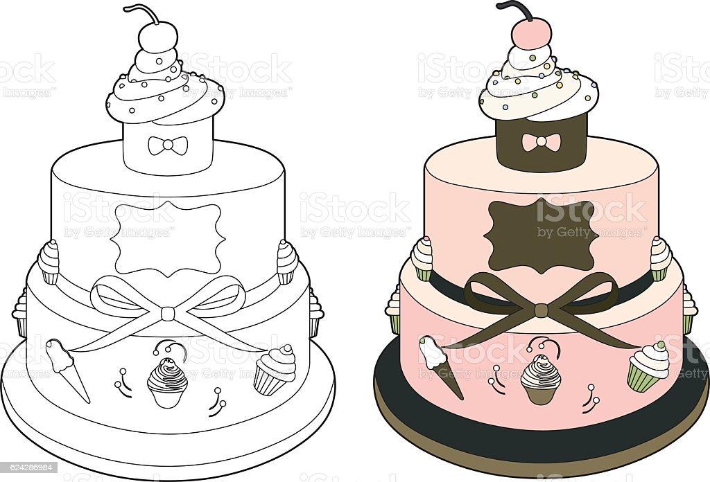 Pink wedding cake vector art illustration