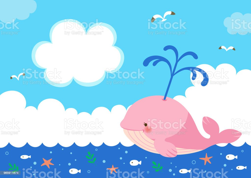 Pink whale with fountain of water on sea background - Royalty-free Animal stock vector