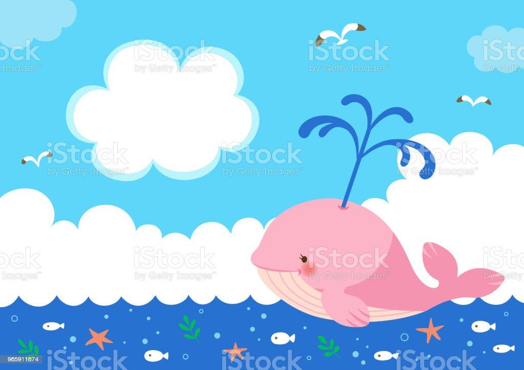 Roze walvis met fontein van het water op de achtergrond van de zee - Royalty-free Bel - Vloeistof vectorkunst