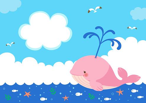 Roze Walvis Met Fontein Van Het Water Op De Achtergrond Van De Zee Stockvectorkunst en meer beelden van Bel - Vloeistof