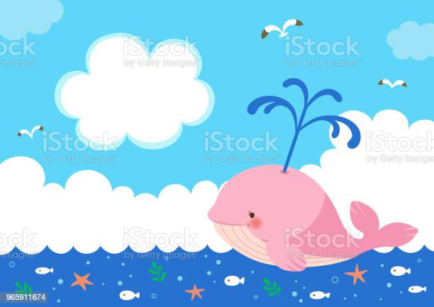 Pink Whale With Fountain Of Water On Sea Background Stock Illustration - Download Image Now