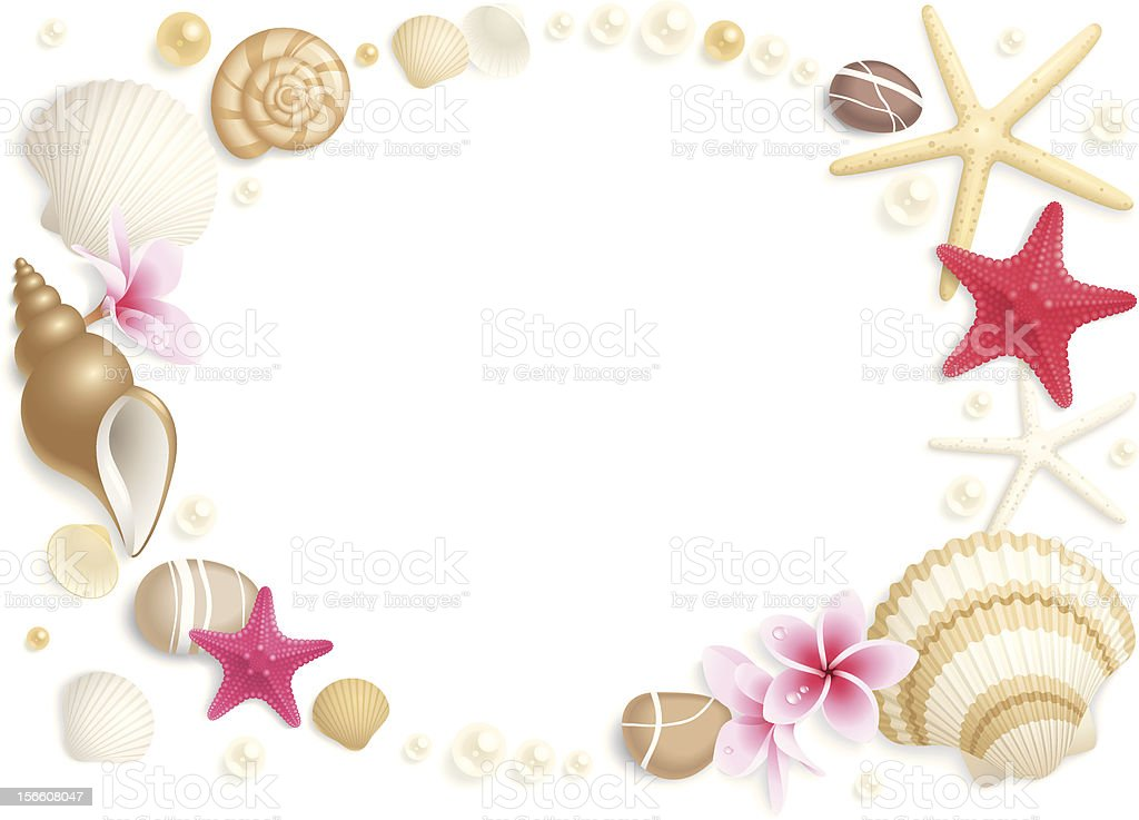 Pink, white, and tan seashell frame royalty-free stock vector art