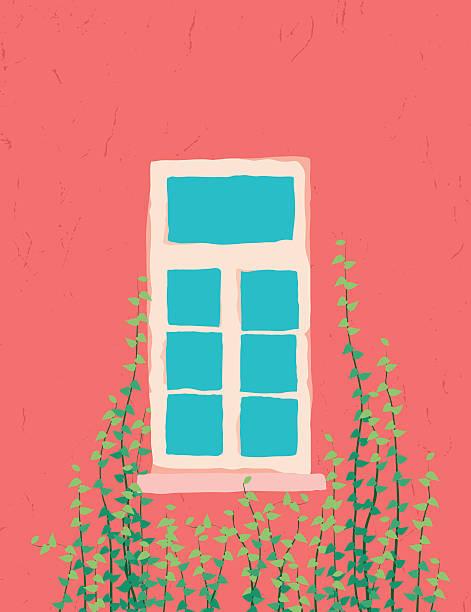 ilustrações de stock, clip art, desenhos animados e ícones de rosa janela decorado com hera videira - ivy building