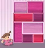 Pink wood shelf with baby girl
