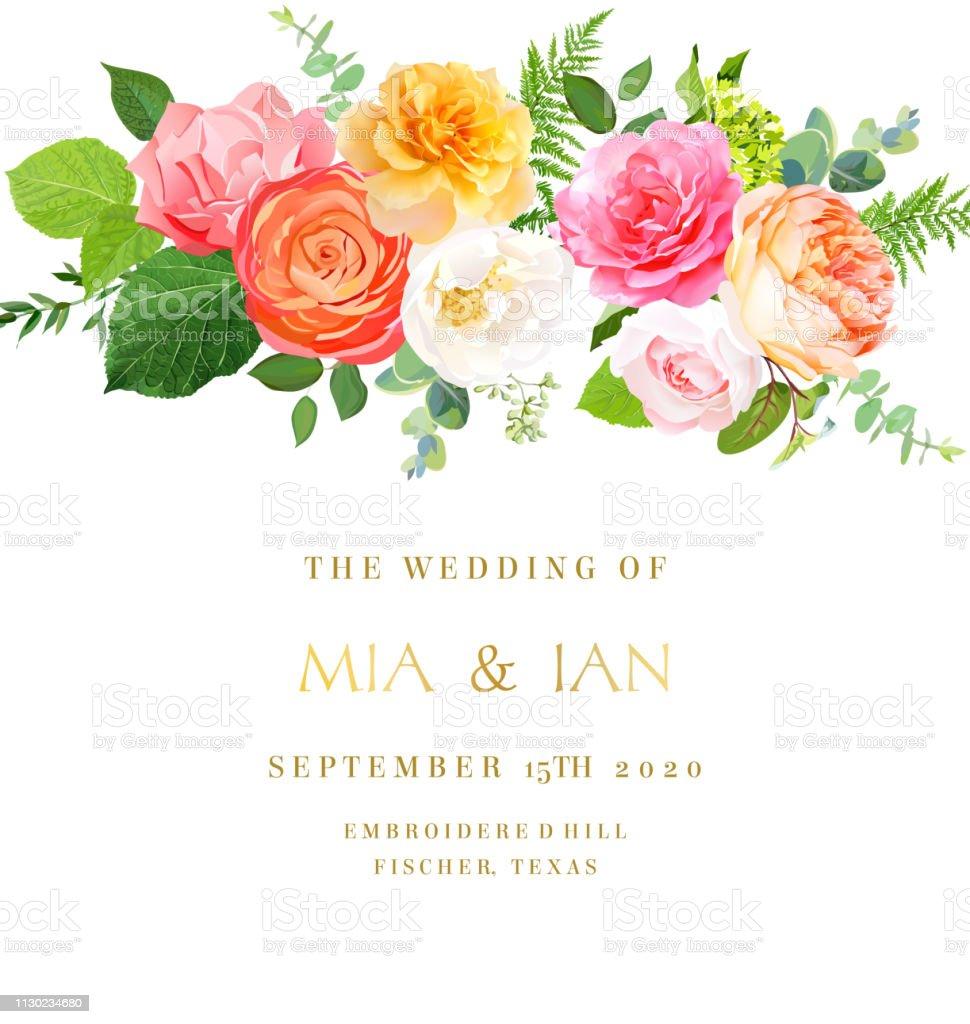 Floral vector design horizontal frame.Pink, yellow, fuchsia rose,...