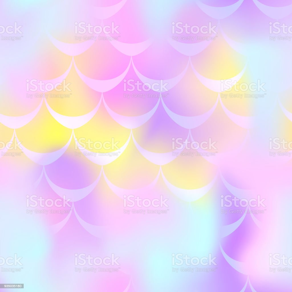 Pink yellow mermaid scale vector background. Pastel iridescent background. Fish scale pattern. vector art illustration