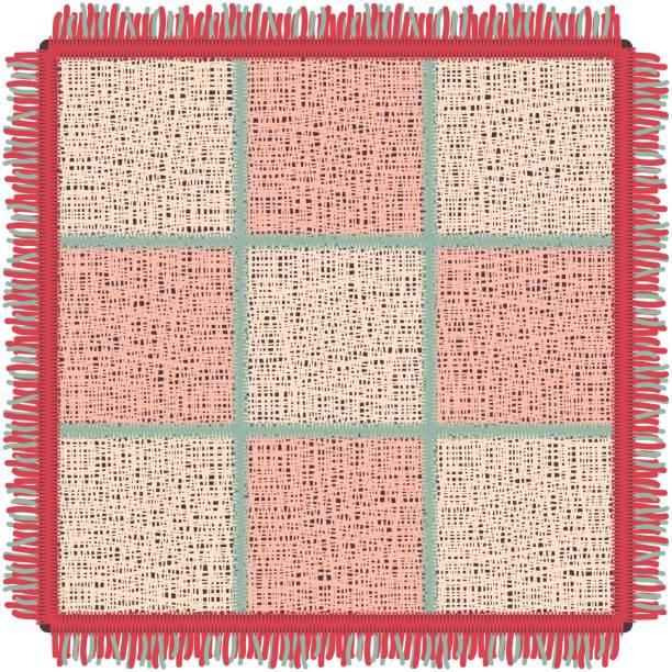 rosa yogamatte mit fransen. quadratischer teppich im käfig - wollteppich stock-grafiken, -clipart, -cartoons und -symbole