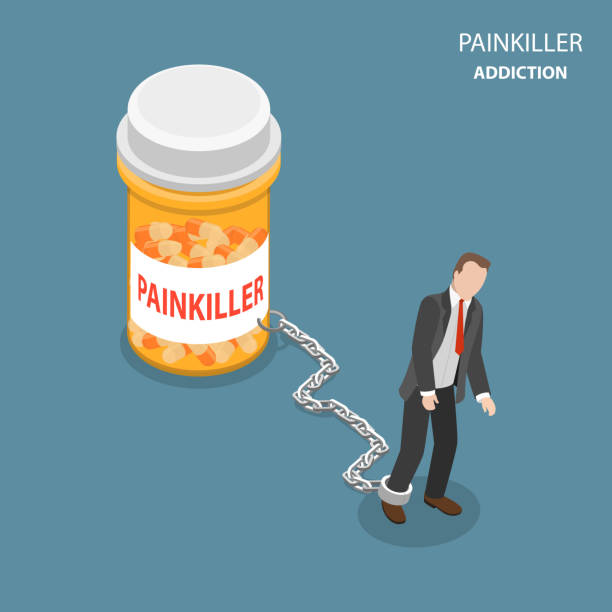 Pinkiller addiction flat isometric vector concept. Painkiller addiction flat isometric vector concept. Tired and weak man is trying to go ahead but cannot as he chained to the bottle of pills with PAINKILLER name on it. addict stock illustrations
