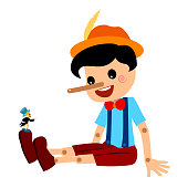 Pinocchio and Jiminy Cricket Tale Vectoral Illustration. Long Nose Pinocchio Sitting. For Children Book Covers, Magazines, Web Pages.
