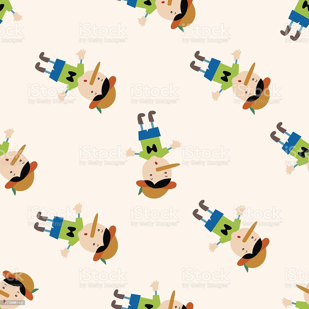 Pinocchio , cartoon seamless pattern background vector art illustration