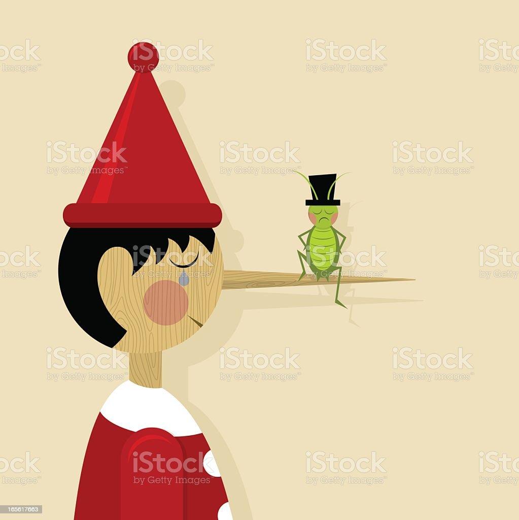 Pinocchio & Conscience vector art illustration