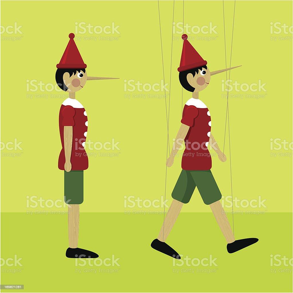 Pinocchio marionette vector art illustration