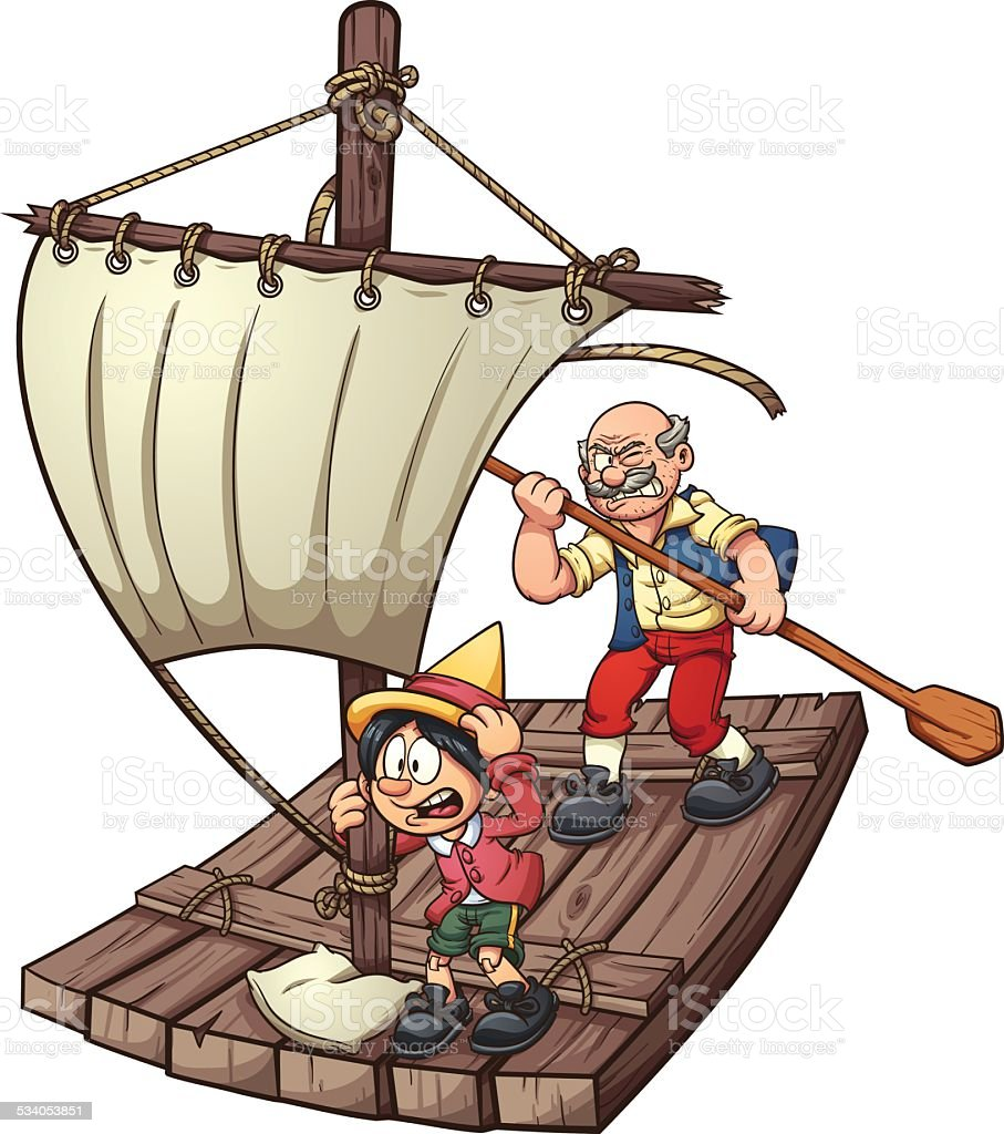 Pinocchio on a raft vector art illustration