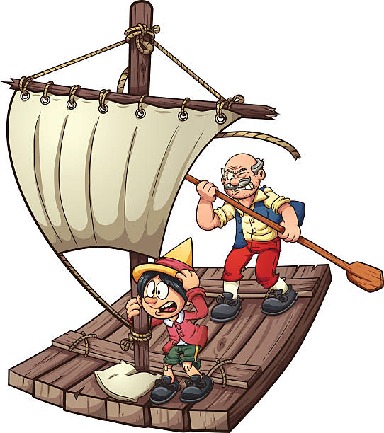 pinocchio on a raft - old man puppet stock illustrations, clip art, cartoons, & icons