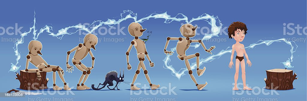 Pinocchio Story. vector art illustration