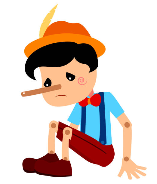 Pinocchio Tale Vectoral Illustration. Unhappy Long Nose Pinocchio Sitting. Pinocchio Tale Vectoral Illustration. Unhappy Long Nose Pinocchio Sitting. For Children Book Covers, Magazines, Web Pages. dishonesty stock illustrations