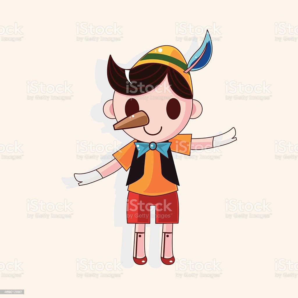 Pinocchio theme elements vector art illustration