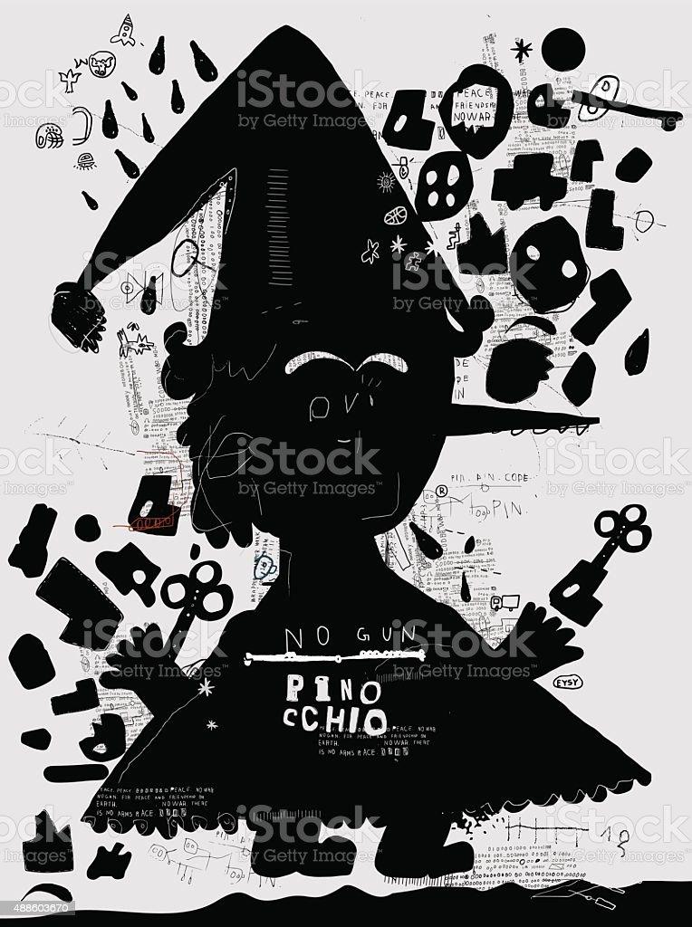 Pinocchio vector art illustration