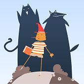Wooden Boy pinoccio with his bad friends. Editable vector file.