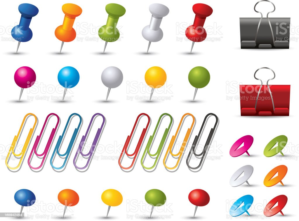 Pins and Clips collection royalty-free stock vector art