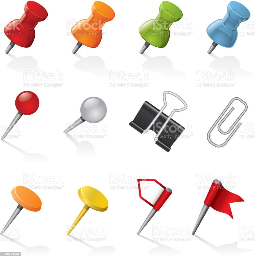 Pins and Clips vector art illustration