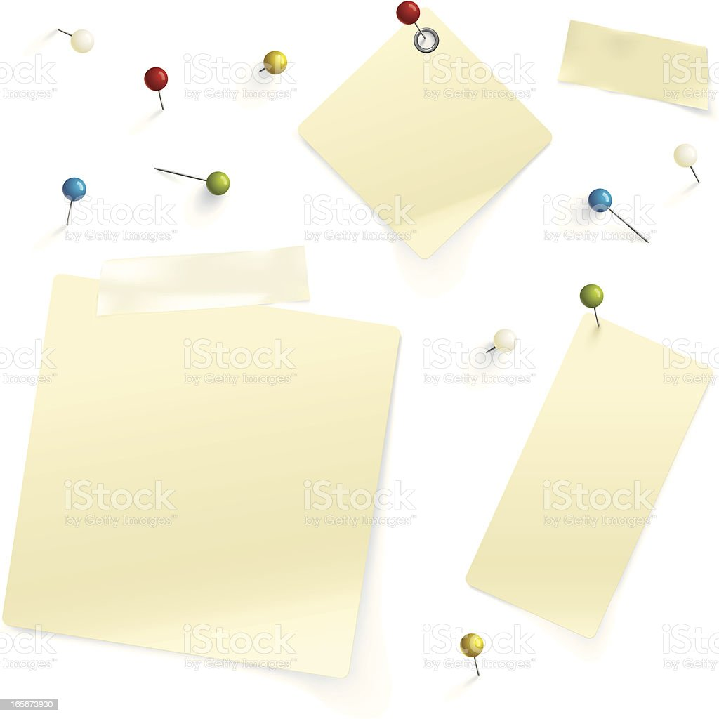 Pins and paper royalty-free stock vector art