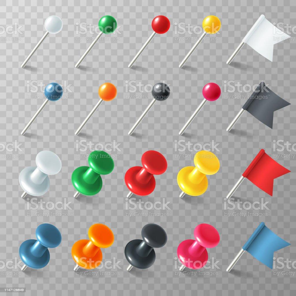 Pins Flags Tacks Colored Pointer Marker Pin Flag Tack Pinned Board ...