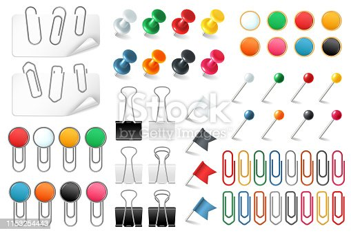 Pins paper clips. Push pins fasteners staple tack pin colored paper clip office organized announcement, stationery realistic vector set