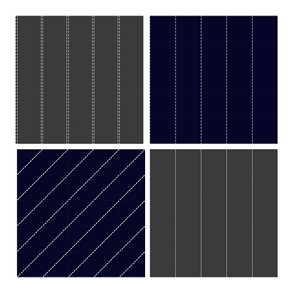 Pinstripe Collection Seamless Pattern Set Vector