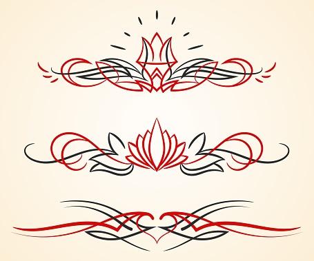 pinstriping flourish vector ornaments set
