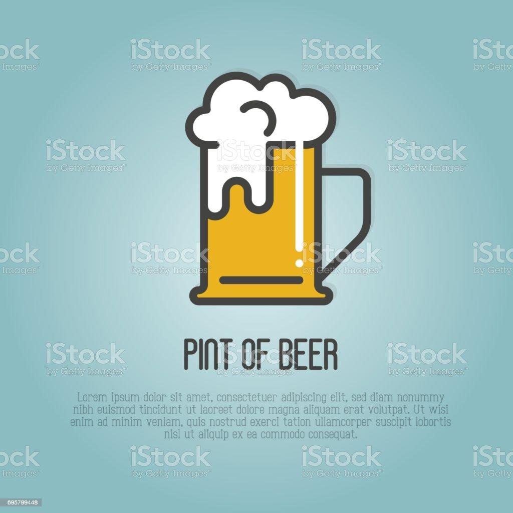 Pint of beer with white foam. Thin line vector illustration for beer brewery, bar, restaurant, October fest. vector art illustration