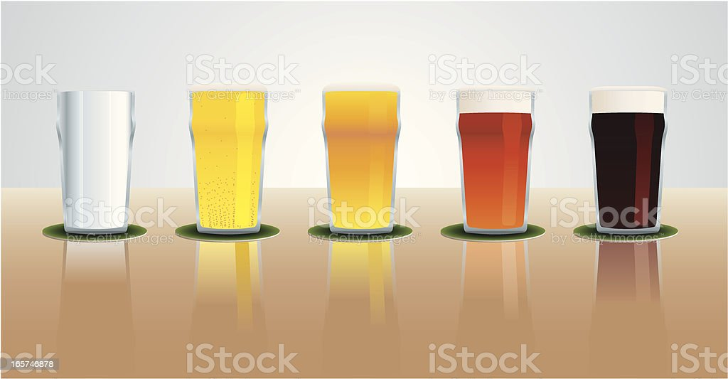 Pints of beer royalty-free stock vector art