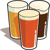 Three pints of beer...an IPA, an ale and a stout! Slainte!