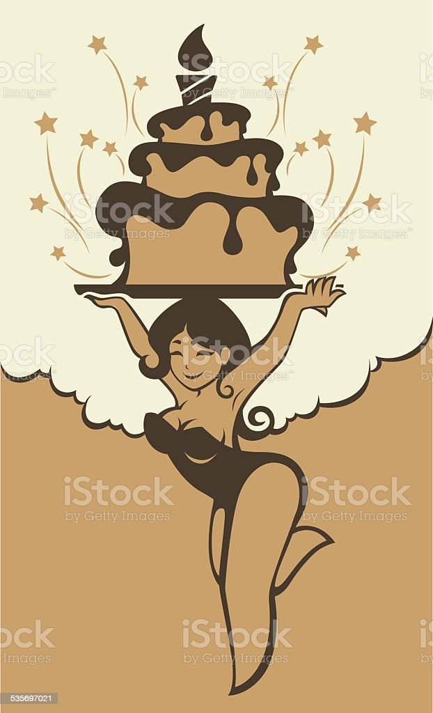 Incredible Pinup Cartoon Girl And Birthday Cake Stockvectorkunst En Meer Funny Birthday Cards Online Sheoxdamsfinfo