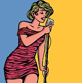 Pin-up girl singing with vintage microphone, female pop jazz singer