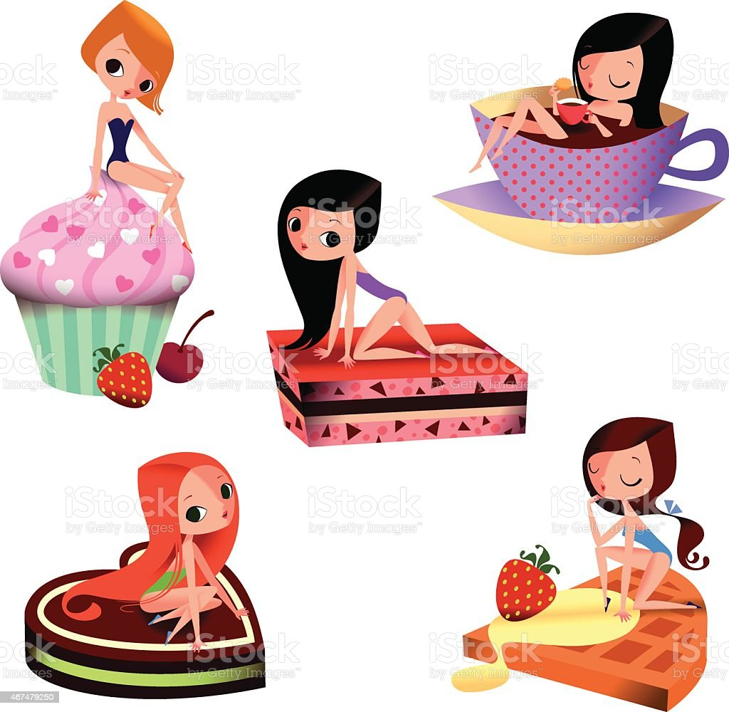 Pin-up girls and Large Cakes. vector art illustration