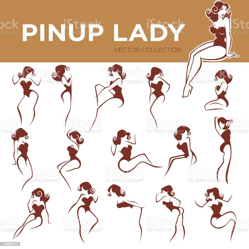 pinup lady poses vector art illustration