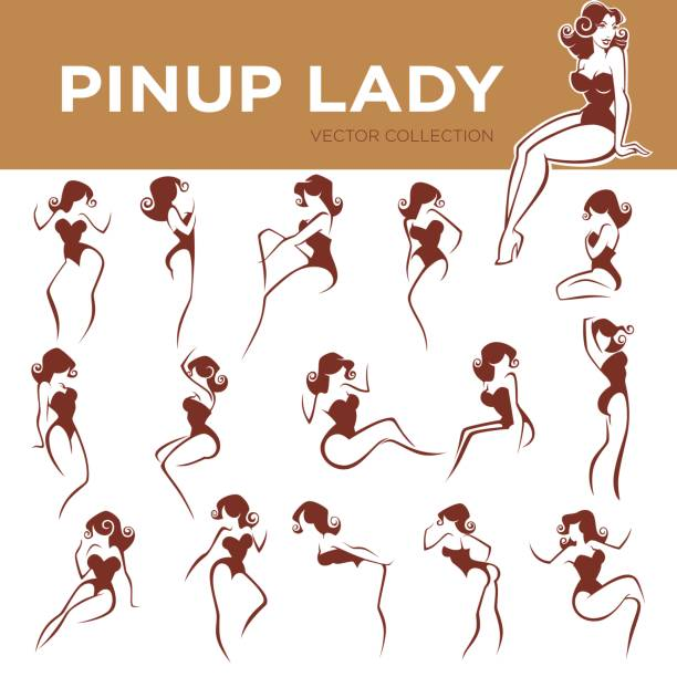 pinup lady poses large vector pinup lady poses collection pin up girl stock illustrations