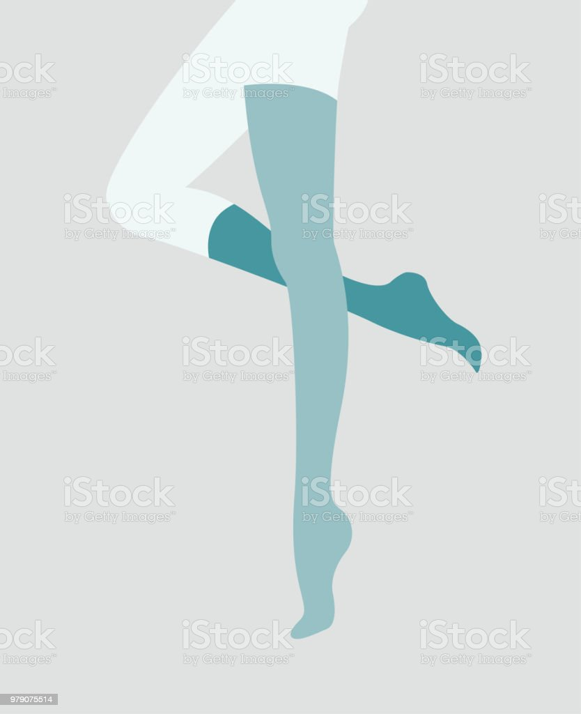 pinup woman legs in mismatching socks and stockings vector art illustration