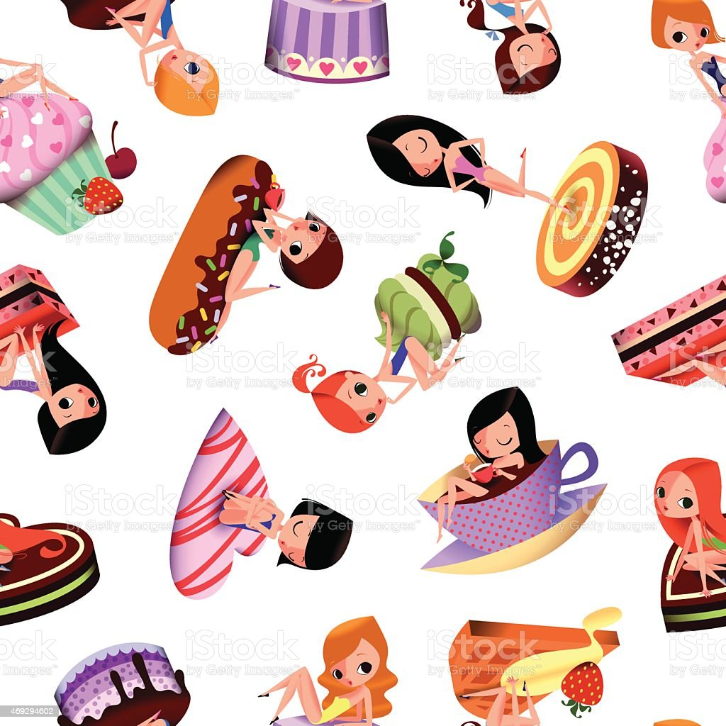 Pinup-Girls and Cake. vector art illustration