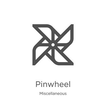 pinwheel icon vector from miscellaneous collection. Thin line pinwheel outline icon vector illustration. Outline, thin line pinwheel icon for website design and mobile, app development
