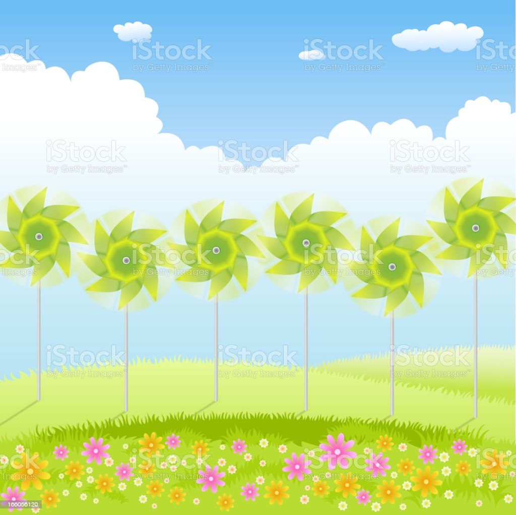 Pinwheel in Nature Background royalty-free stock vector art
