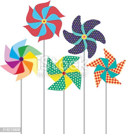 Colorful, patter, pinwheels, windmills. High resolution JPG, PDF, PNG (transparent background) and AI files available with this download.