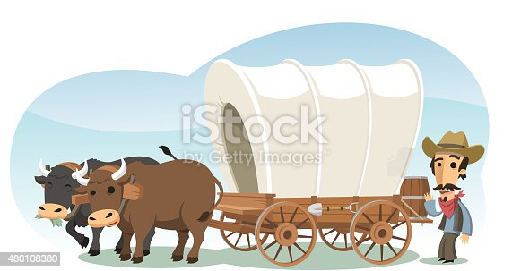 Pioneer with animal drawn wagon, vector illustration cartoon.