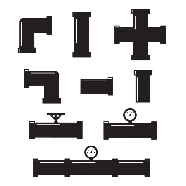 pipe connector or pipe fitting. pipe fittings vector icons set - flange stock illustrations, clip art, cartoons, & icons