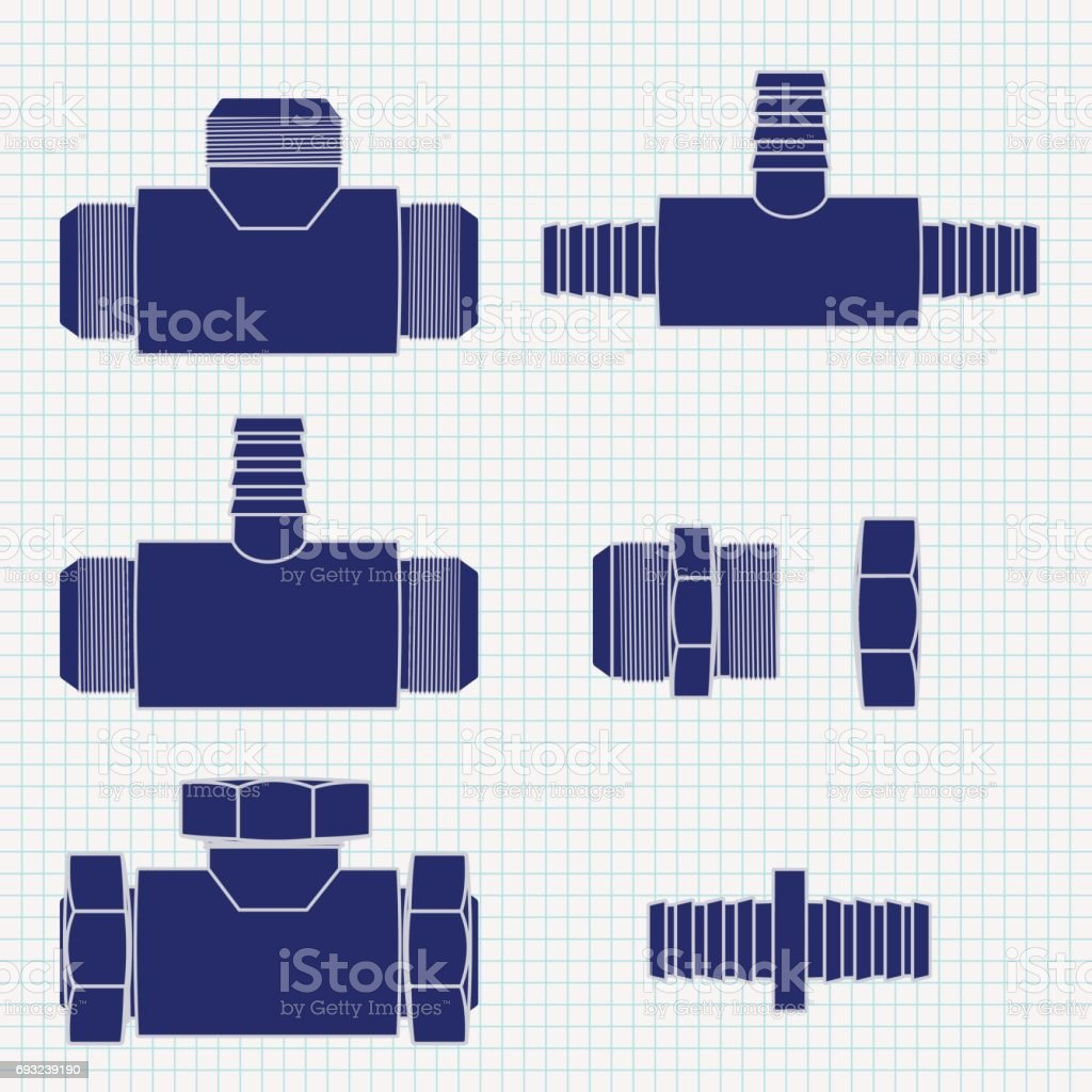 Pipe  Fitting. Brass fitting with Threaded. Icon.  illustration vector art illustration