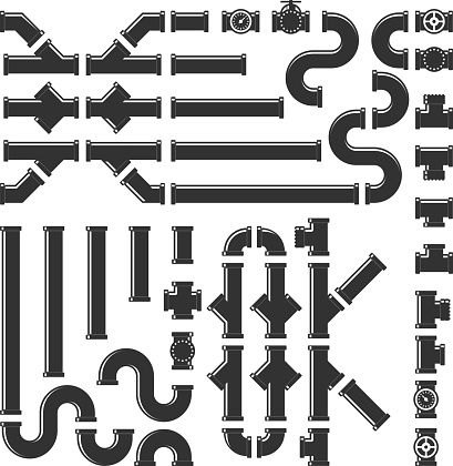 Pipe fittings vector icons set. Tube industry, construction pipeline, drain system, vector illustration.